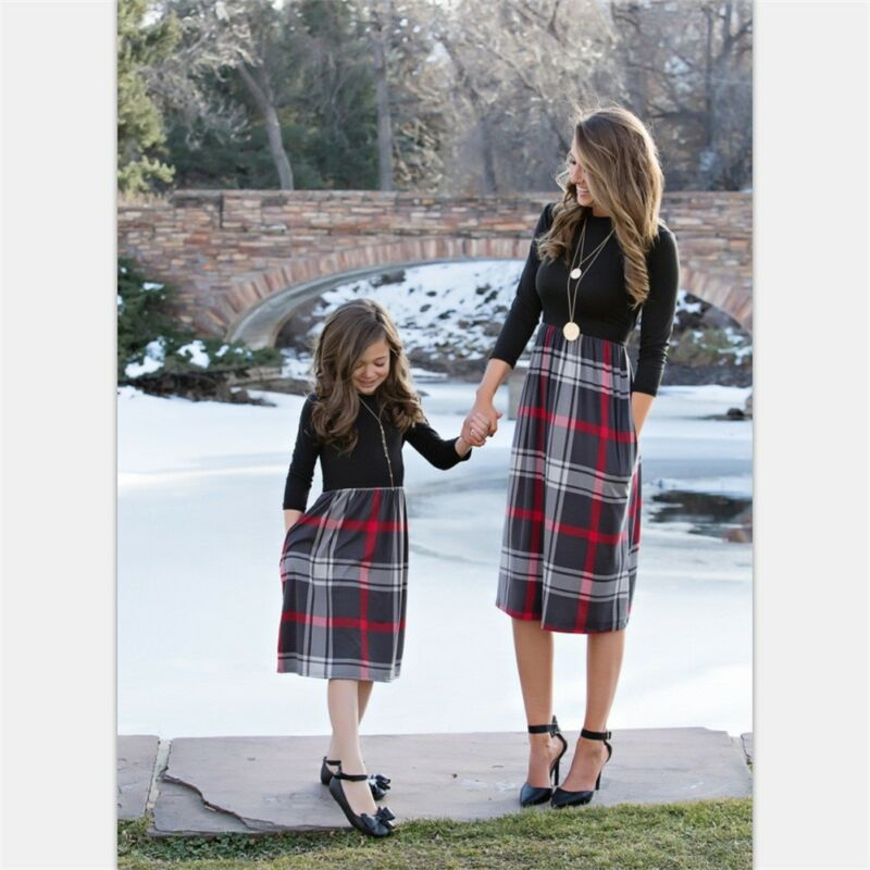 Winter Mother Daughter Clothes Parent Child Dress Women Girl Family Plaid Outfits