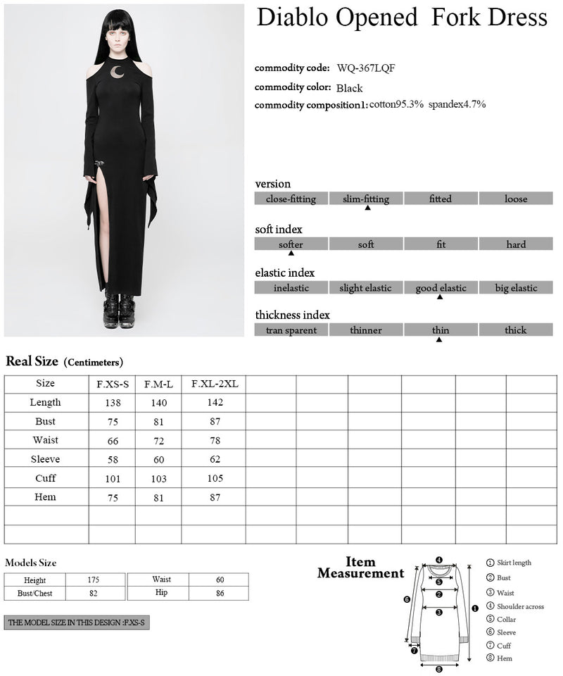 Punk Rave Women Casual Sexy Dresses Moon Pattern Hollow Out Dress Stage Cosplay Personality Witch Dress