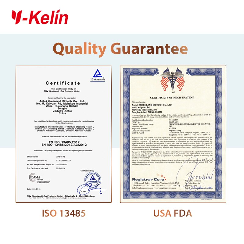 Y-Kelin Denture Cleansing Tablets 96 Tabs denture effervescent tablets 96 pills denture cleaner