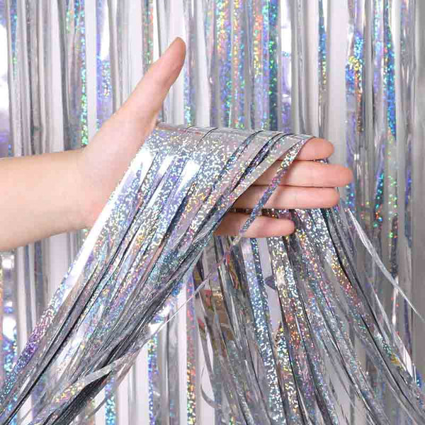 2M 3M 4M Metallic Foil Fringe Shimmer Backdrop Wedding Party Wall Decoration Photo Booth Backdrop Tinsel Glitter Curtain Gold