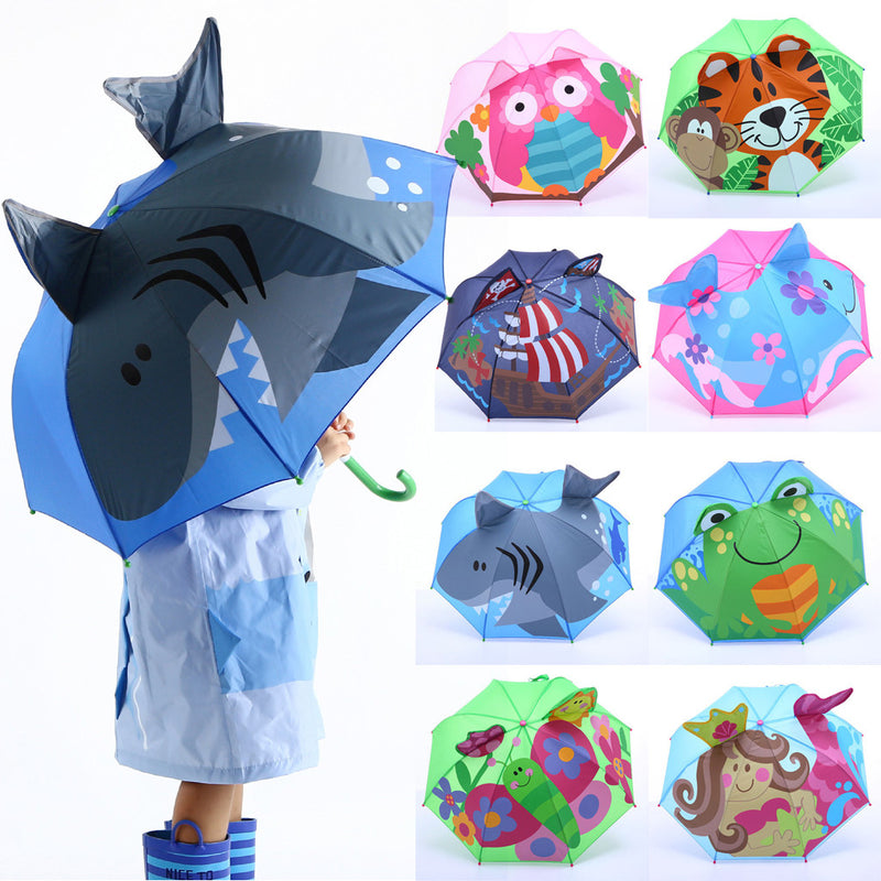 Baby Cover Parasol For Sun Rain Protection UV Rays 3D Cartoon Outdoor Umbrella Wind Resistant Folding Umbrella Rain Windproof
