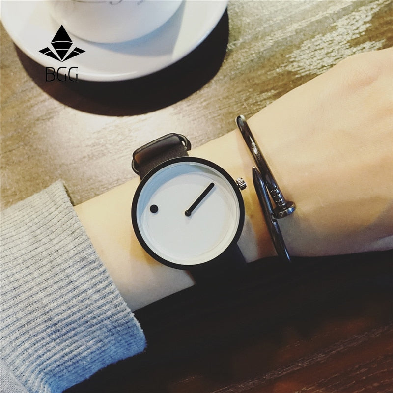 2019 Minimalist style creative wristwatches BGG black & white new design Dot and Line simple stylish quartz fashion watches gift