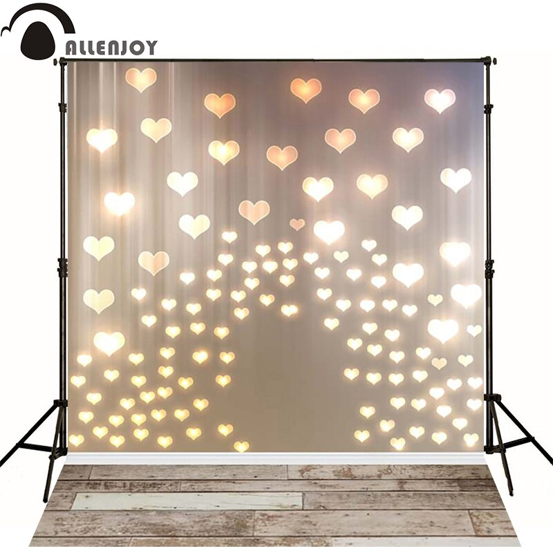 Allenjoy photo background golden hearts love lights wood Board for newborn backdrop for wedding photography photocall vinyl