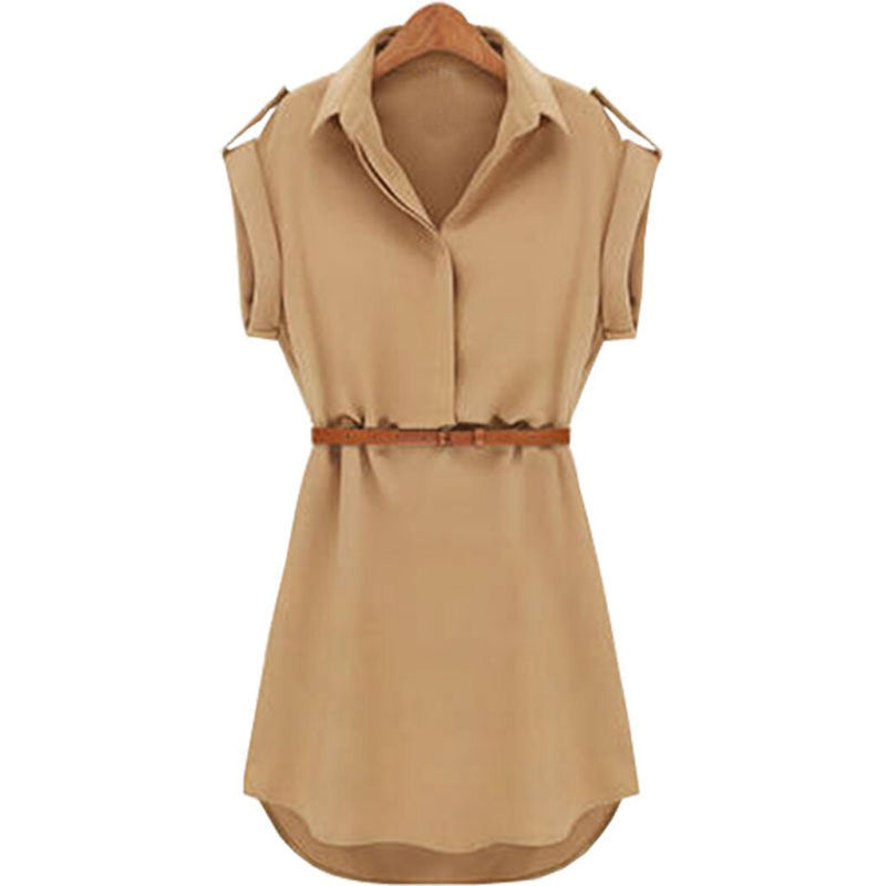 Summer Casual Women's Dress Solid Loose Short Sleeve Turn-down Collar Mini Vestidos With Belt Grace Chiffon Comfortable OY41*