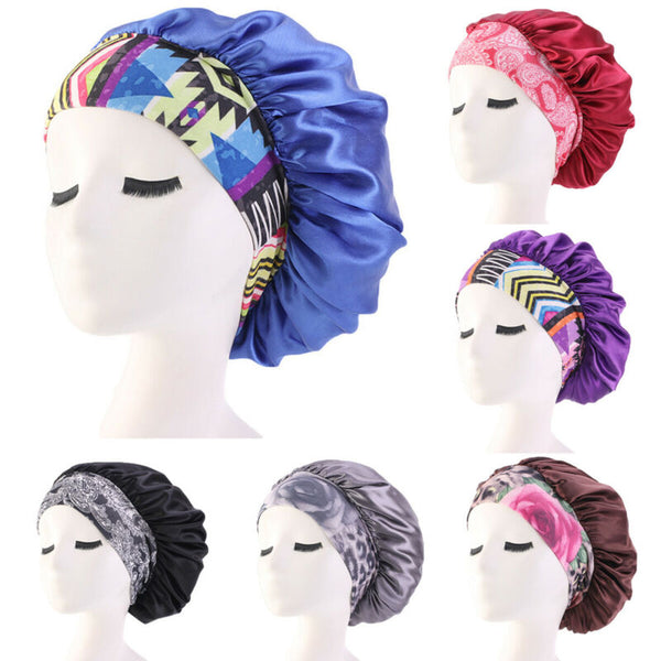 Women Satin Night Beauty Salon Sleep Cap Cover Hair Bonnet Hat Silk Head Wide Elastic Band For Curly Springy Hair Chemo Cap