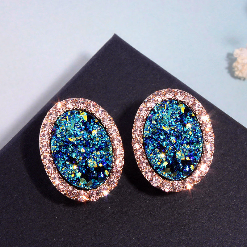 New Fashion Round Stud Earrings For Women Charm Crystal Earrings Brincos Wedding Earring Jewelry Elegant Gift E1720