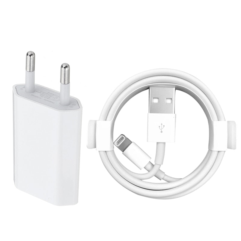 Kit EU Wall Charger + USB Charging Cable for iPhone 6 6S 7 8 Plus X XS MAX XR 1m USB Data Cables for iPhone 5 5S Charge Adapter