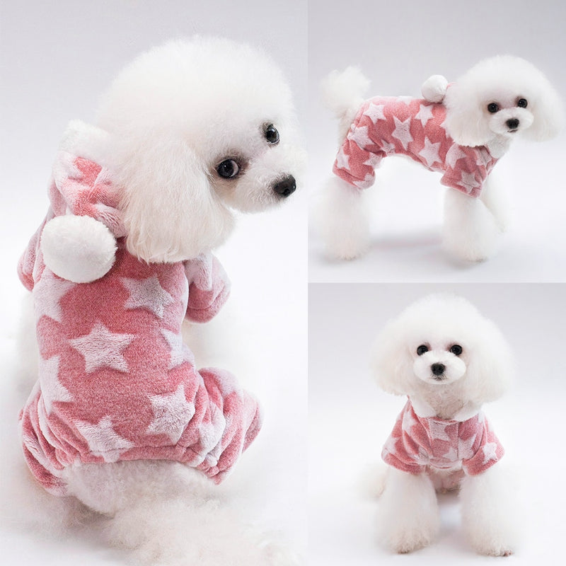Soft Cat Dog Clothes Fleece Puppy Chihuahua Clothing Winter Coat Jumpsuit Dog Costume Hooded Pajamas For Small Medium Dogs Cats