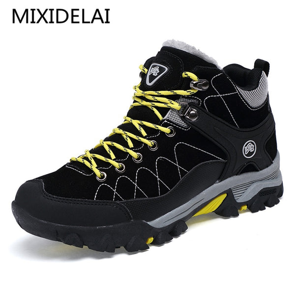 New Men Boots Winter With Fur 2019 Warm Snow Boots Men Winter Boots Work Shoes Men Footwear Fashion Rubber Ankle Shoes 39-45