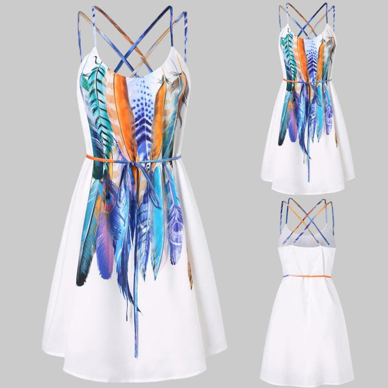 KANCOOLD dress Women Casual Printed Feathers Pattern Dress Cami Strap Loose Sashes fashion Mini dress women 2018jul20