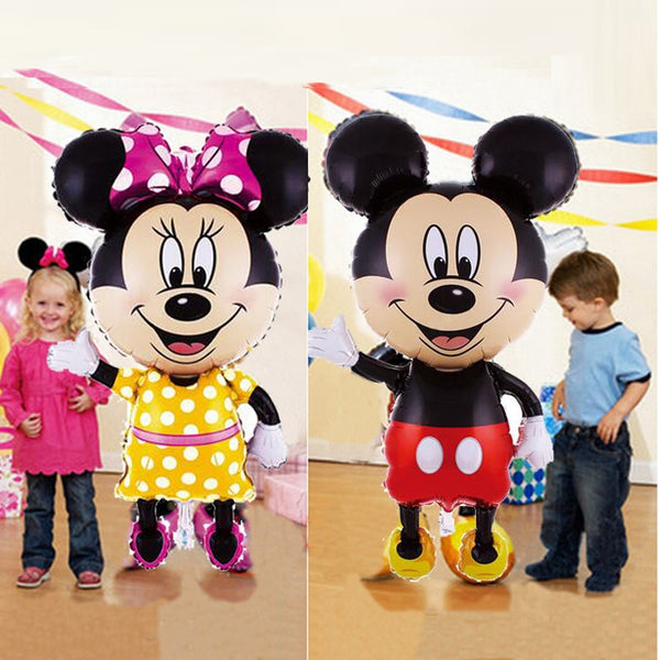 112cm Giant Mickey Minnie Mouse Balloon Cartoon Foil Birthday Party Balloon Kids Birthday Party Decorations Classic Toys Gift