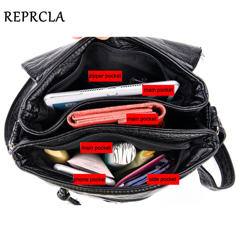 REPRCLA New Designer Shoulder Bag Soft Leather Handbag Women Messenger Bags Crossbody Fashion Women Bag Female Flap Bolsa