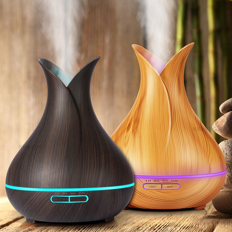 KBAYBO 400ml Aroma Essential Oil Diffuser Ultrasonic Air Humidifier with Wood Grain 7 Color Changing LED Lights for Office Home