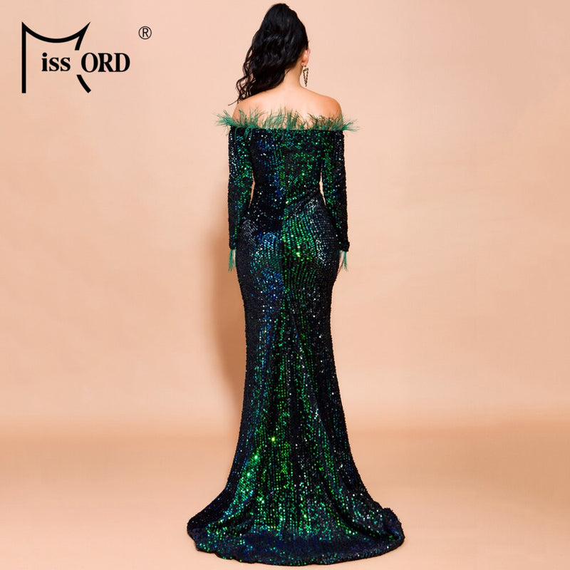 Missord 2019 Women Sexy Off Shoulder Feather Long  Sleeve Sequin floor length Evening  Maxi Reflective Dress Vestdios  FT19005-2