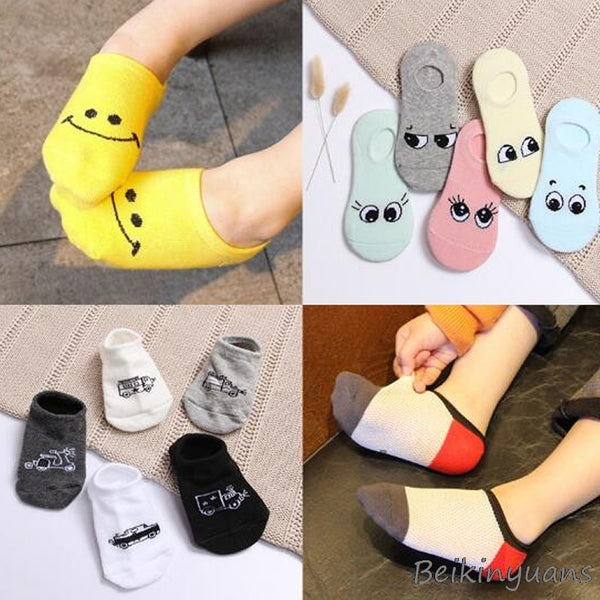 New spring and summer children's cartoon short socks children spring and summer cartoon smiley invisible boat socks
