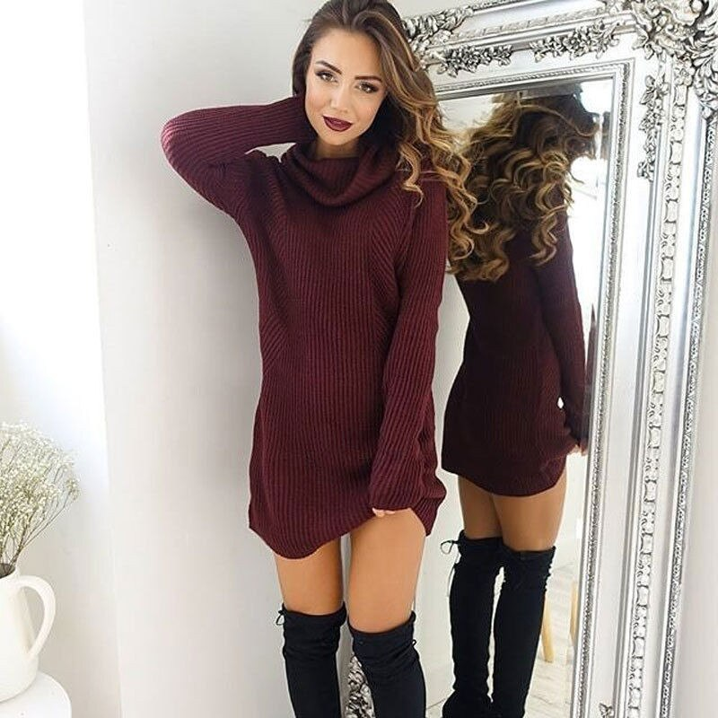 2019 new women's hood high collar loose long sleeve oversized sweater vest top high collar dress straight mini arrival Dress