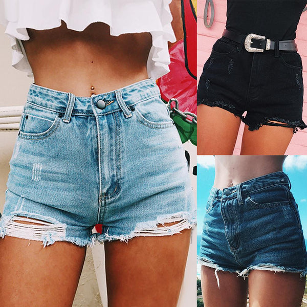 Fashion Female Ripped Frayed Hole High Waist Denim Shorts Summer Women  Lady Casual Loose Streetwear Jeans Hot Pants With Zipper