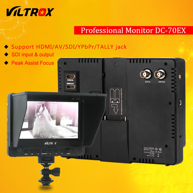 "Viltrox DC-70EX Pro 7"" 4K HDMI SDI AV TALLY Input Output Video HD LCD Camera Video Monitor Display Field for Canon Nikon Sony"