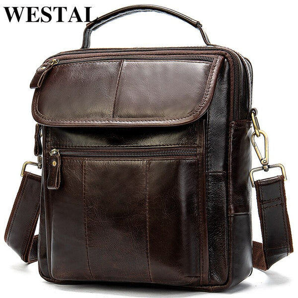 WESTAL Men's Genuine Leather Bag Crossbody Bags for Men Messenger Bag Men Leather Men's Shoulder Bags Male Handbags 8870