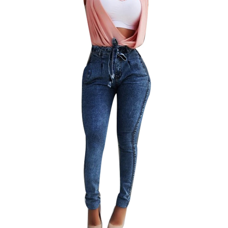 2019 Fashion sexy  Long Pants Plus Size Fashion Belted High Waist Skinny Jeans Women Stretch Denim Long Pants