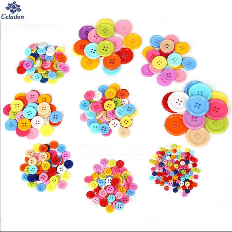 20-200PCS Multi Sizes Round Resin Mini Tiny Buttons Sewing Tools Decorative Button Scrapbooking Garment DIY Apparel Accessories