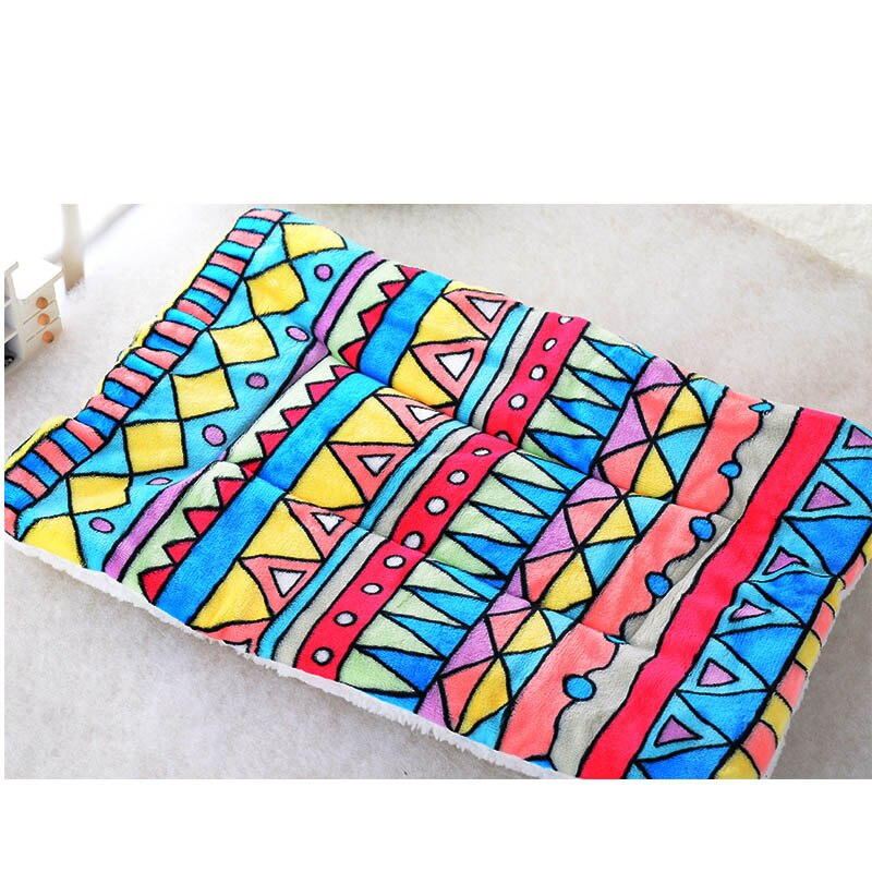 Winter Pet Dog Warm Soft Cushion Print Flannel Cotton Mattress Cats Dogs Mat Puppy Blanket Bed Pads