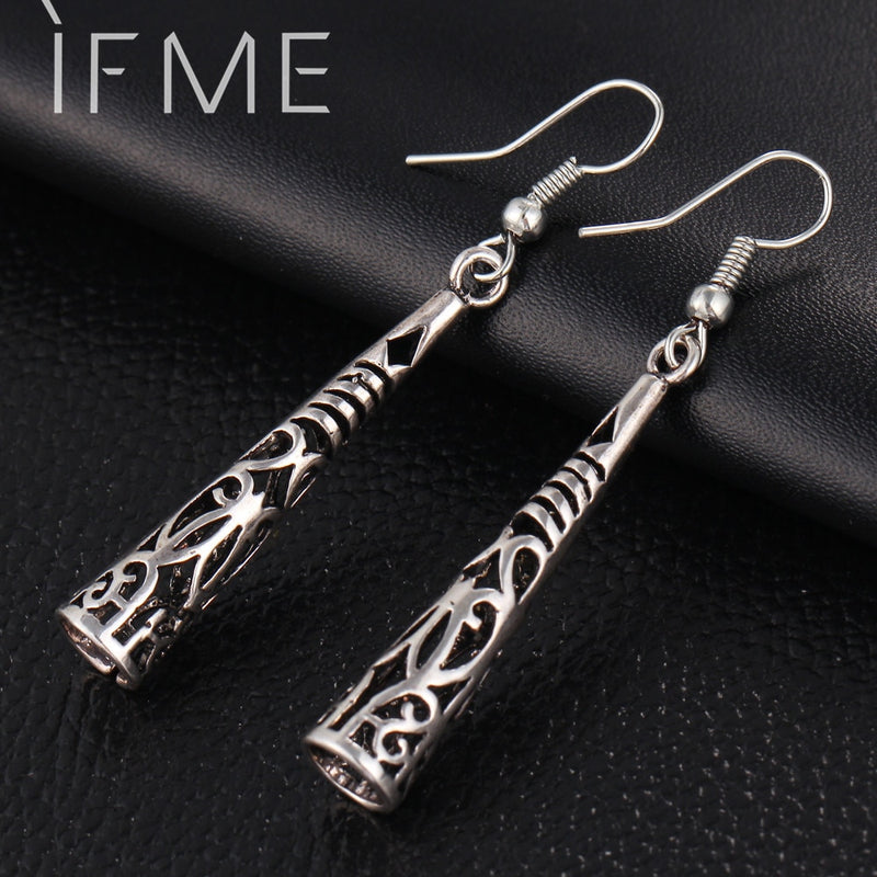 IF ME New Vintage Antique Silver Color Long Drop Earrings for Women Fashion Hollow Out Retro Carved Party Gift Drop Shipping