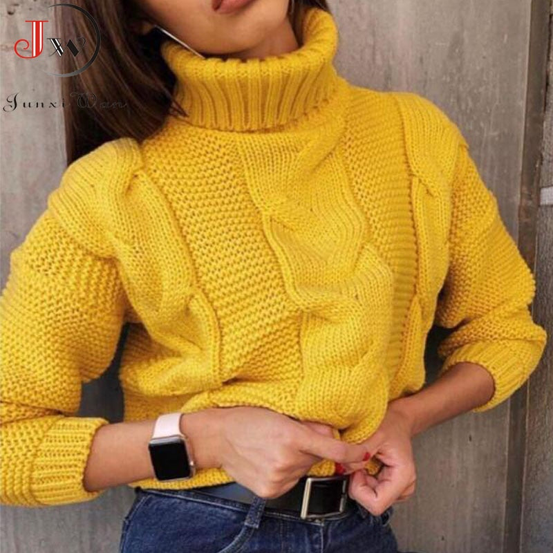 2019 Autumn Winter Short Sweater Women Knitted Turtleneck Pullovers Casual Soft Jumper Fashion Long Sleeve Pull Femme