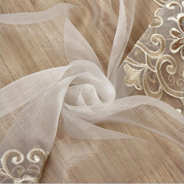 Luxury Embroidered Sheer Voile Curtains Window Drapes Cortina for Living Room Door Gold Lace Curtains Tulle Windows
