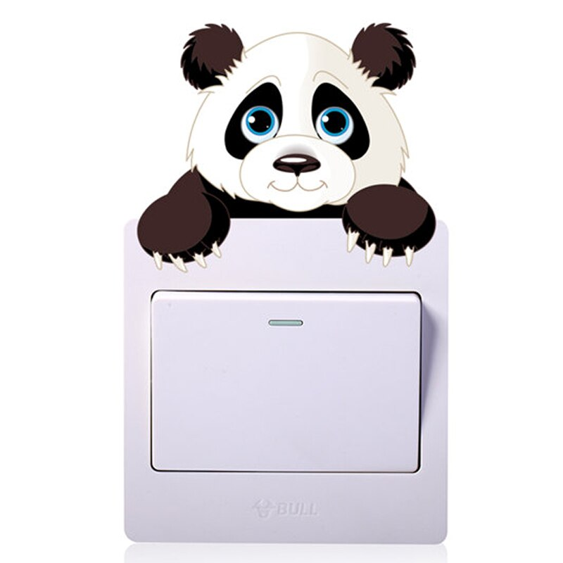Cute Animals Elephant Cat Panda Giraffe Light Switch Sticker Remoable Wall Sticker For Kids Baby Nursery Home Decal Murla Decor
