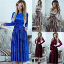 Susi&Rita Vintage Long Sleeve Velvet Dress Women 2019 Bodycon Belted Midi Dress Spring Pleated Party Dresses Vestidos Robe Femme