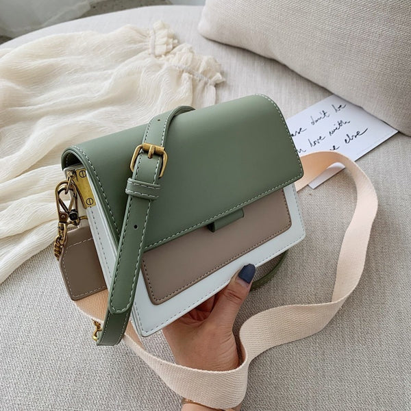 Contrast Color PU Leather Crossbody Bags For Women 2019 Travel Handbag Fashion Simple Shoulder Messenger Bag Lady Crossbody Bags