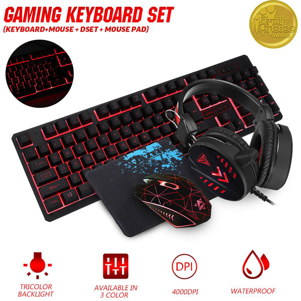 LEORY 4Pcs Home Mechanical Wired USB Keyboard  Illuminated Gaming Mouse Pad Accessories Set Computer Desktop Backlight Headset