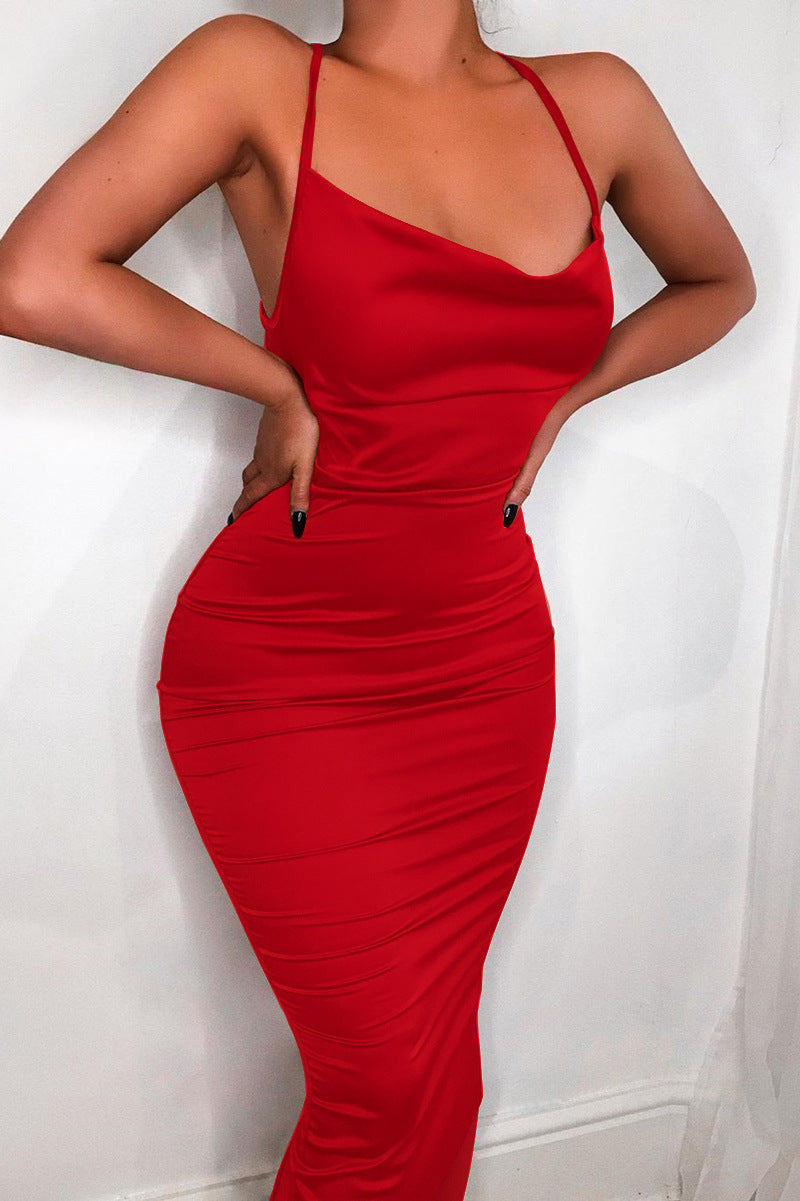 2019 Summer Women Long Dress Satin Sleeveless Bandage Backless Elegant Party Dress Vestidos Sexy Elegant Hollow Out