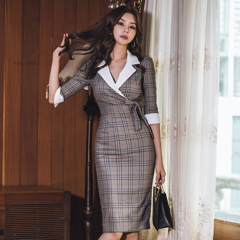 Khaki Dress Office Plaid Bodycon Women Clothes 2019 Bow Lace Up Turn-down Collar Formal Dress Women Elegant Midi Pencil Dress