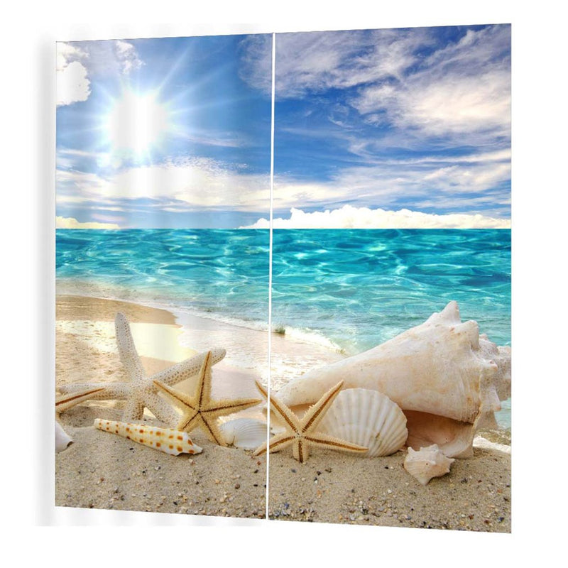 Sun-bathed starfish Pattern Curtains Divider Nice Window Curtain 170*200 Romantic Curtains For Living Room (Multi)