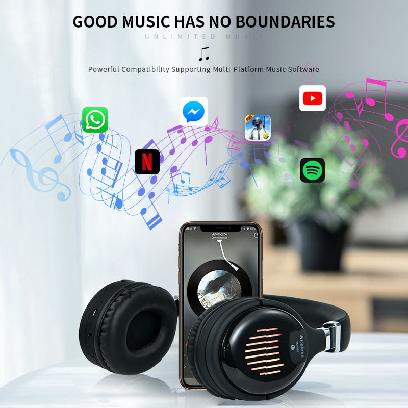 True Wireless Headphones 3D Stereo Bluetooth Headset Foldable Gaming Earphone With Mic FM TF Card Noise Reduction Headphones