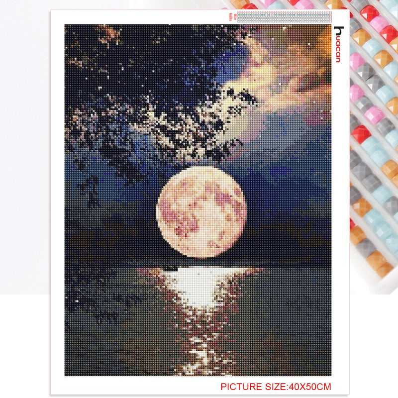 Huacan Diamond Painting Full Square Drill Moon Rhinestones Pictures Diamond Embroidery Sale Scenic Cross Stitch Mosaic Gift