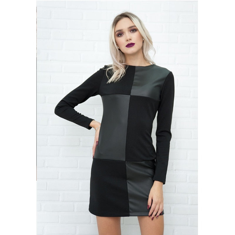 Women Vintage Leather Patchwork Elegant Office Dress Long Sleeve O neck Solid Casual Mini Dress 2019 Winter New Fashion Dress