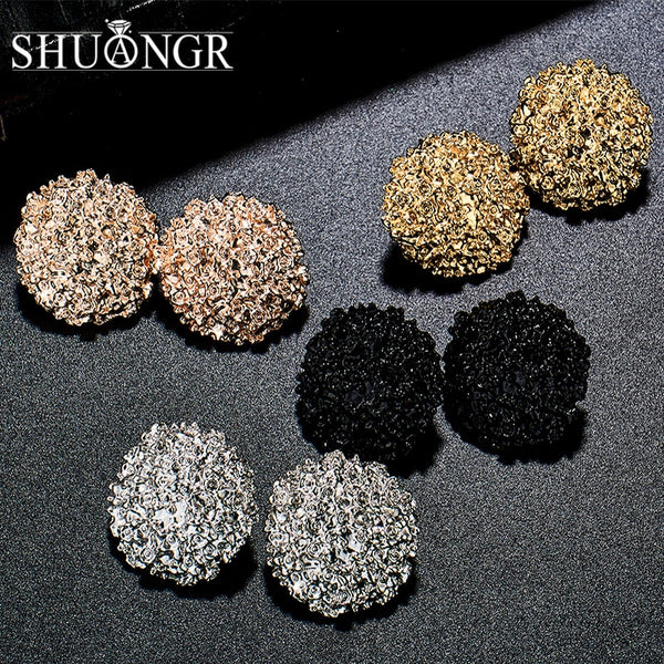SHUANGR Punk Gold Sliver Black Round Oval Metal Stud Earrings Simple Geometric Earrings For Women Personality Jewelry Brincos