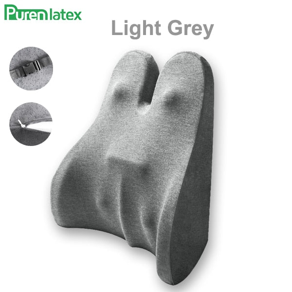 PurenLatex Memory Foam Waist Lumbar Side Support Pillow Spine Coccyx Protect Orthopedic Car Seat Office Sofa Chair Back Cushion