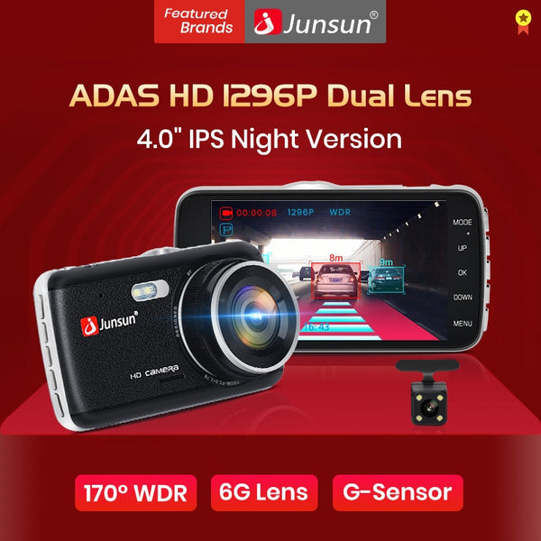 Junsun H7 ADAS 1296P HD Car DVR Camera Dash Cam 4 Inch IPS Dual Lens 1080P Video Recorder Registrator Night Vision Car DVRs