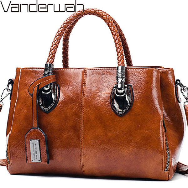 Vintage Oil Wax leather luxury handbags women bags designer ladies hand bags for women 2019 bag sac a main Femme Bolsa Feminina