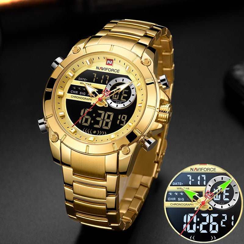 NAVIFORCE Men Military Sport Wrist Watch Gold Quartz Steel Waterproof Dual Display Male Clock Watches Relogio Masculino 9163