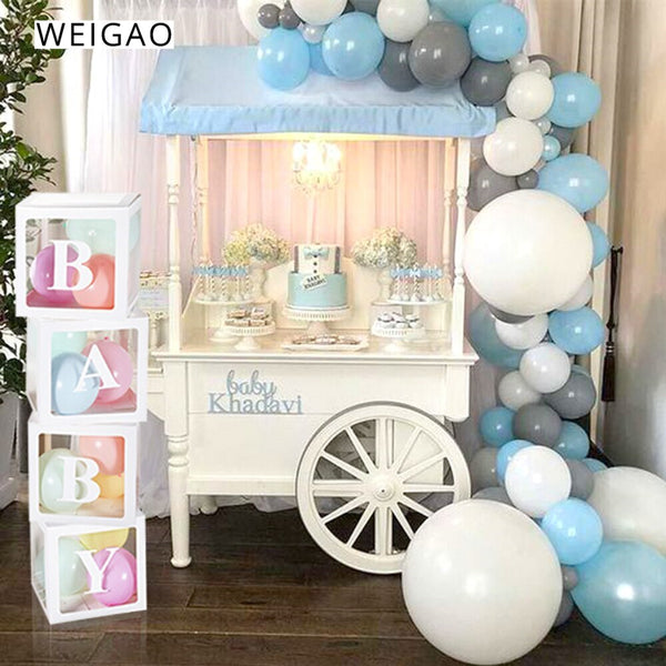 WEIGAO Large BABY LOVE Balloons Transparent Blocks Cardboard Box for Baby Shower Boy Girl Gifts Box Wedding Decor Storage Box