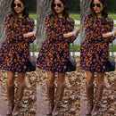 Fashion Women Dress Floral Printing Elastic Waist O-Neck Loose Long Sleeves Female Autumn Winter Party Dress Vestidos
