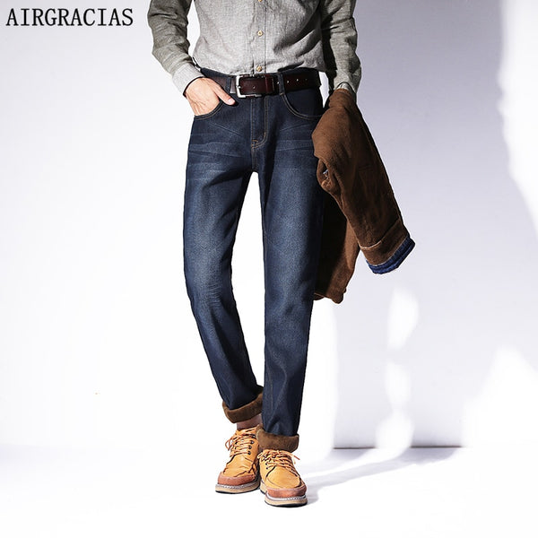 AIRGRACIAS 2019 New Men Warm Jeans High Quality Famous Brand Autumn Winter Jeans Thicken Fleece Men Jeans Long Trouser 28-42