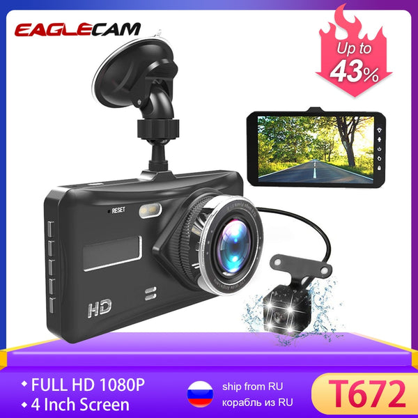 "Dash Cam Dual Lens Full HD 1080P 4"" IPS Car DVR Vehicle Camera Front+Rear Night Vision Video Recorder G-sensor Parking Mode WDR"