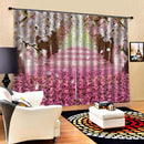 Cherry Brick Road Pattern Modern Design Curtain for Home Kitchen Living Room Bedroom Curtain for Window Decoration