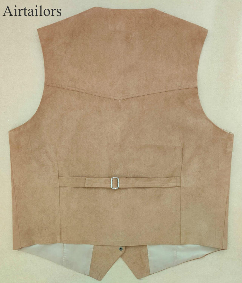 2019 Airtailors Mens Brown Silky Cow Suede Leather Embossed Snap Western Vest  for Wedding Brown Plus Size